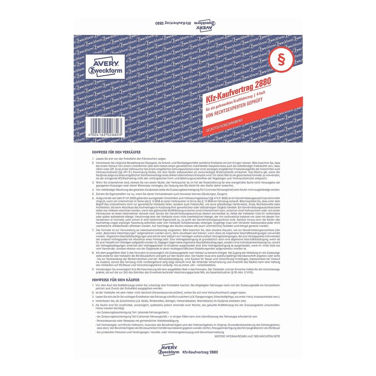Avery Zweckform Formularvordruck »Kaufvertrag gebrauchtes Kfz«