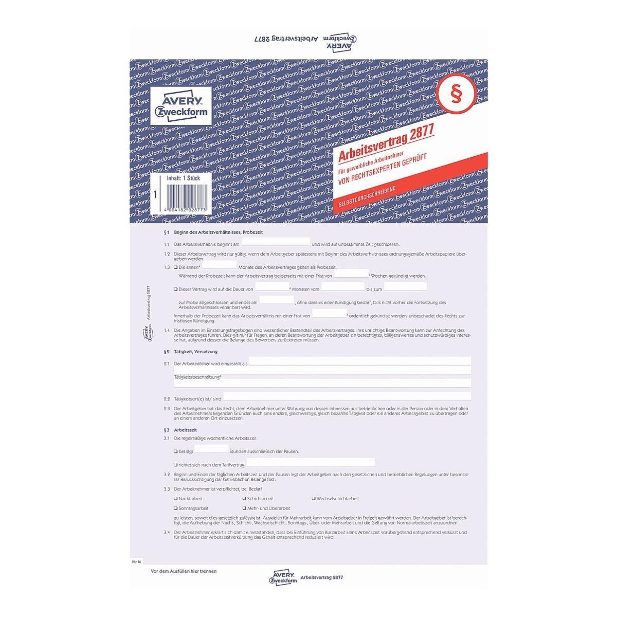 Avery Zweckform Formularvordruck »Arbeitsvertrag gewerbl. Arbeitnehmer«