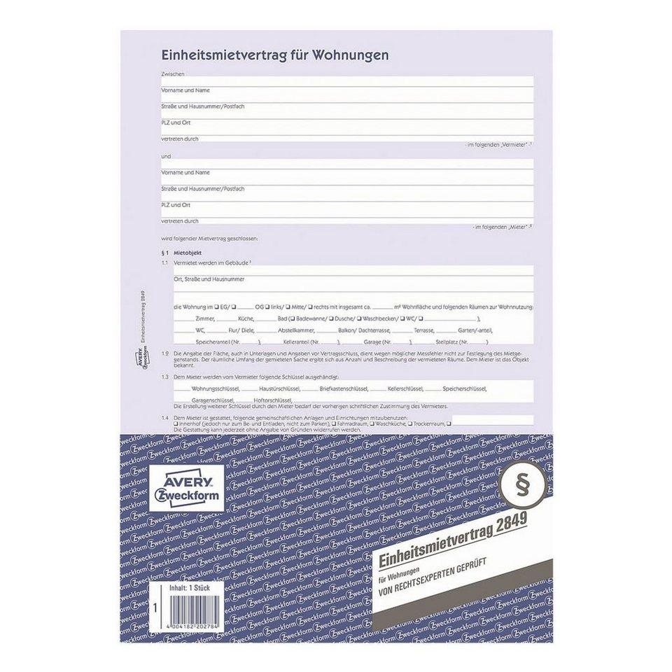 Avery Zweckform Formularvordruck »Einheitsmietvertrag für Wohnung...