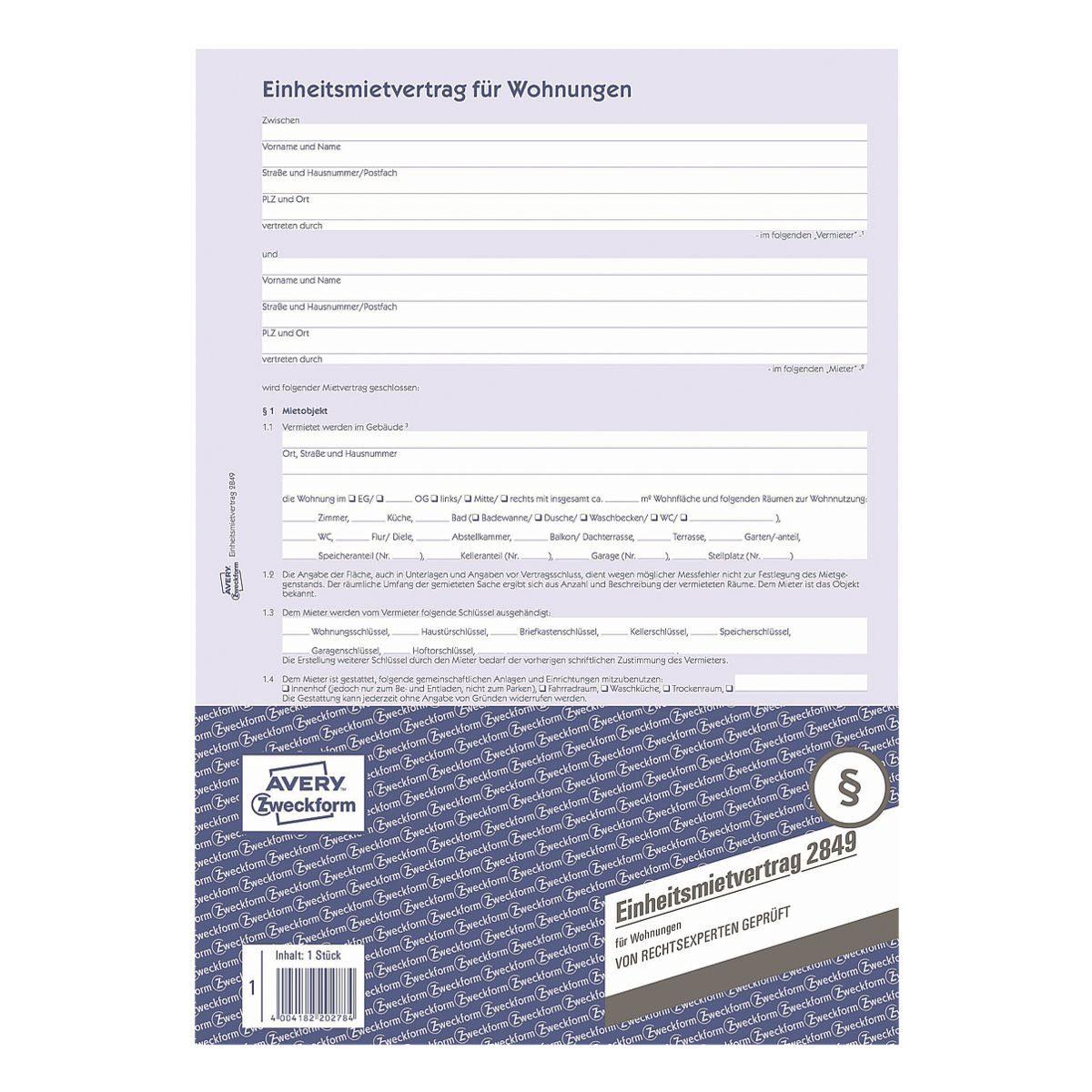 ZWECKFORMAVERY Formularvordruck »Einheitsmietvertrag für Wohnung«