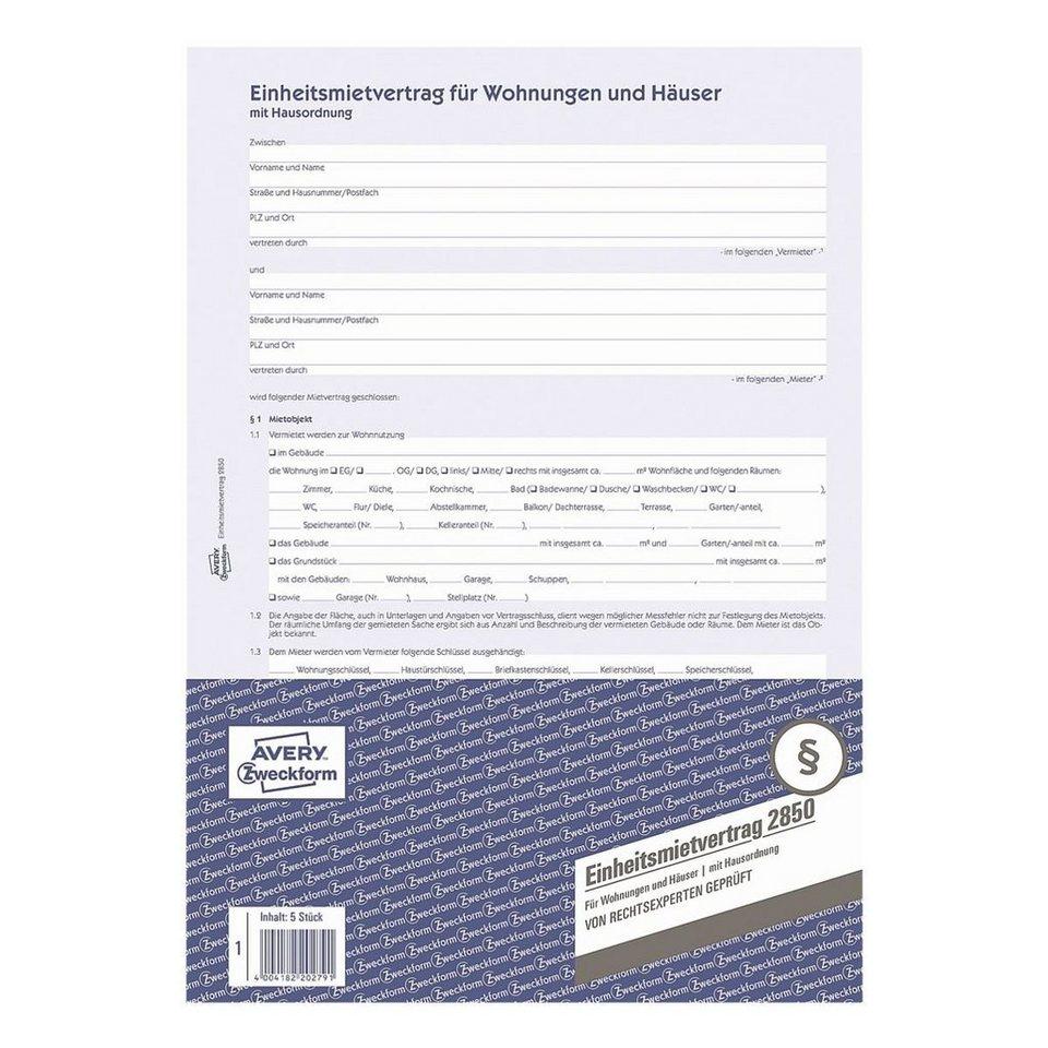 Avery Zweckform Formularvordruck »Einheitsmietvertrag für Wohnungen...