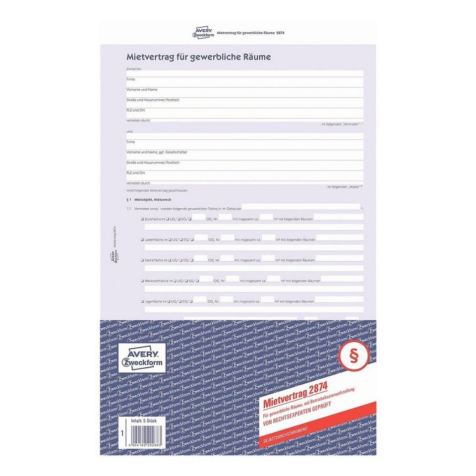 Avery Zweckform Formularvordruck »Mietvertrag für gewerbliche R...