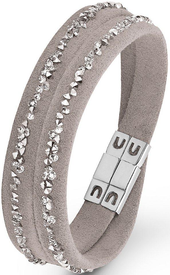 s.Oliver Armband zum Wickeln, mit Swarovski® Kristallen, »SO1439/1« in silberfarben-grau