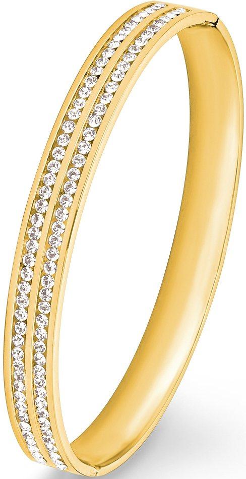s.Oliver Armreif mit Swarovski® Kristallen, »9240623« in goldfarben