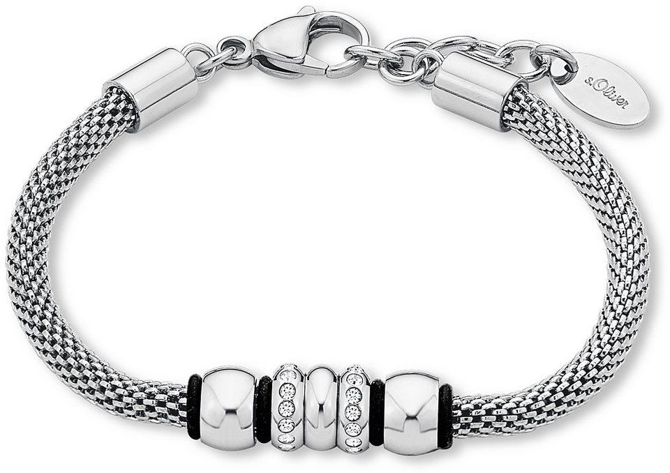 s.Oliver Armband mit Swarovski® Kristallen, »9240135« in silberfarben-schwarz
