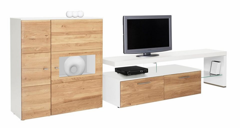 netfurn by gwinner wohnwand solano lack wei 2 tlg online kaufen otto. Black Bedroom Furniture Sets. Home Design Ideas
