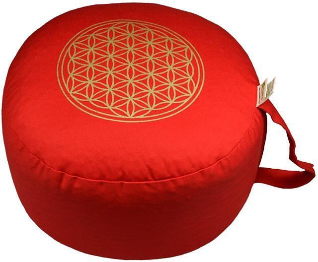Yogakissen, »Blume des Lebens«, Herbalind, rot