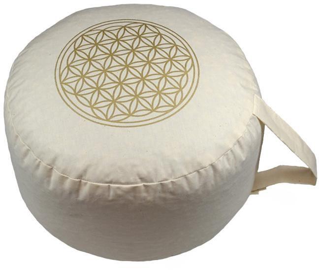 Yogakissen, »Blume des Lebens«, Herbalind, weiß