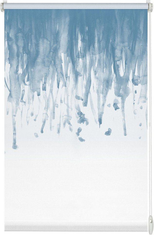 Seitenzugrollo, Gardinia, »Easyfix Swedish Moments Rainfall«, Lichtschutz, Fixmaß, ohne Bohren in blau