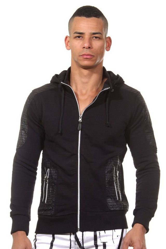 CATCH Kapuzensweatjacke slim fit in schwarz