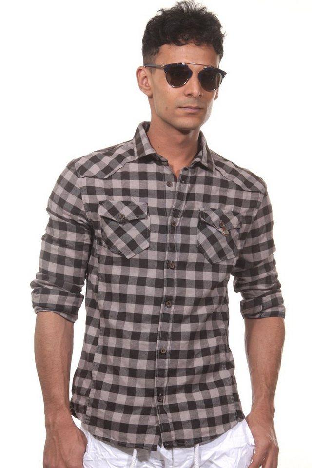 CATCH Langarmhemd slim fit in grau/schwarz
