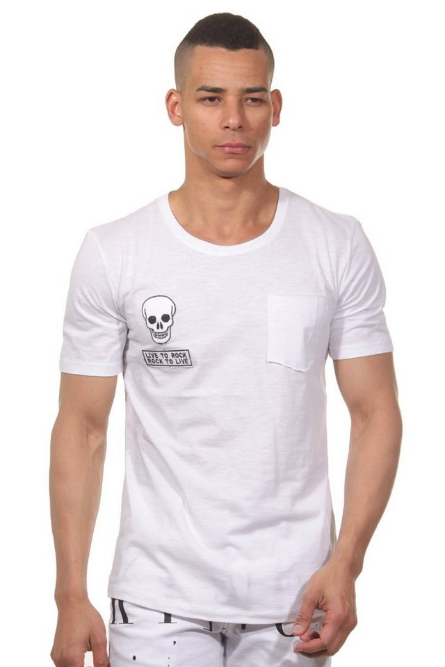 CATCH T-Shirt Rundhals slim fit in weiss