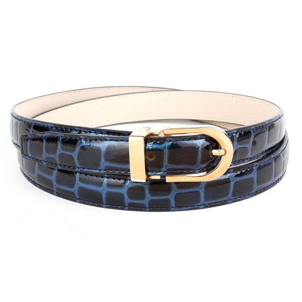 Anthoni Crown Ledergürtel mit Krokomuster in Blau