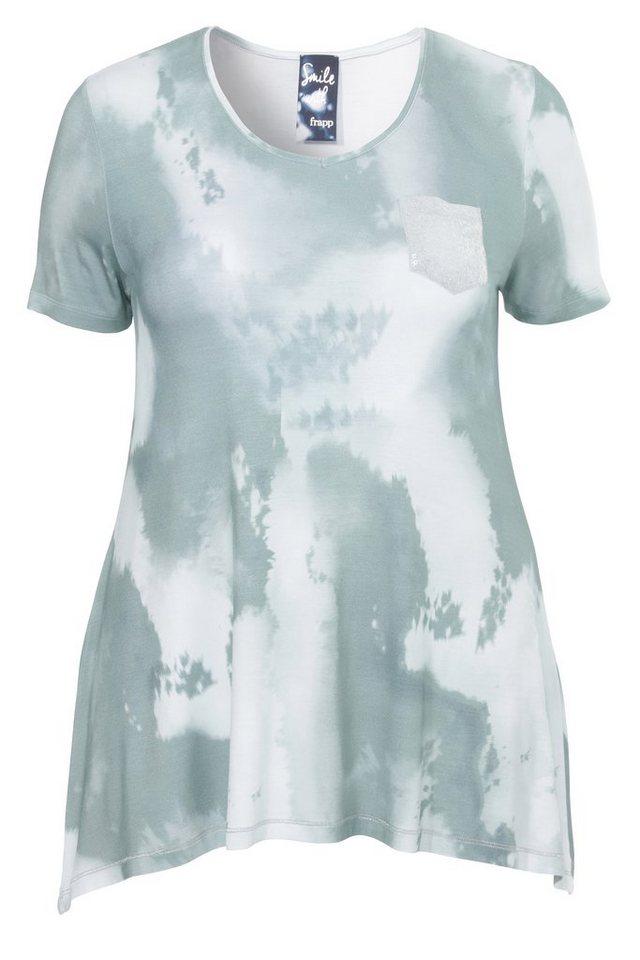 FRAPP Fließendes T-Shirt in A-Form »Green Shades« in JADE MULTICOL
