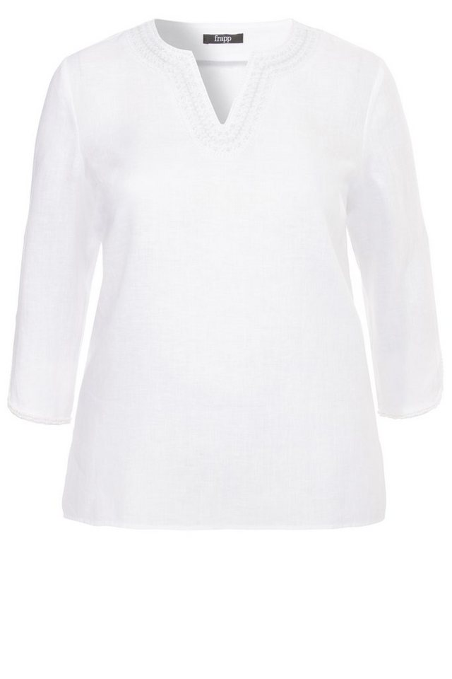FRAPP Verzierte Bluse/ Tunika in Leinen-Optik in WHITE