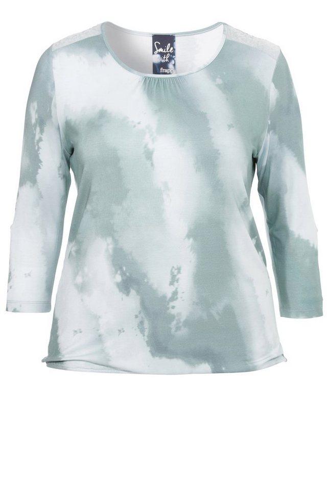 FRAPP Fließendes 3/4-Arm Shirt »Green Shades« in JADE MULTICOL