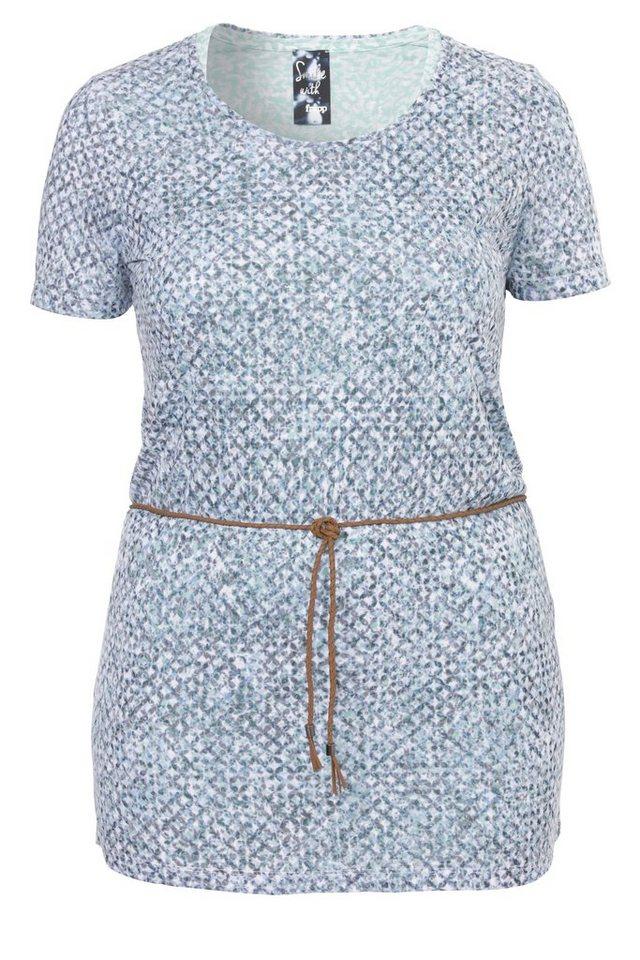FRAPP 2-in-1 Long-Shirt / Minikleid mit Ausbrennermuster in JADE MULTICOL