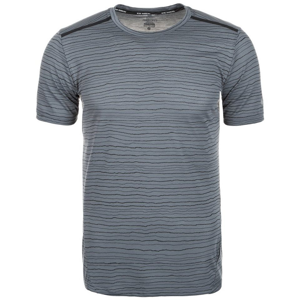 NIKE Dri-FIT Cool Tailwind Stripe Laufshirt Herren in grau / silber