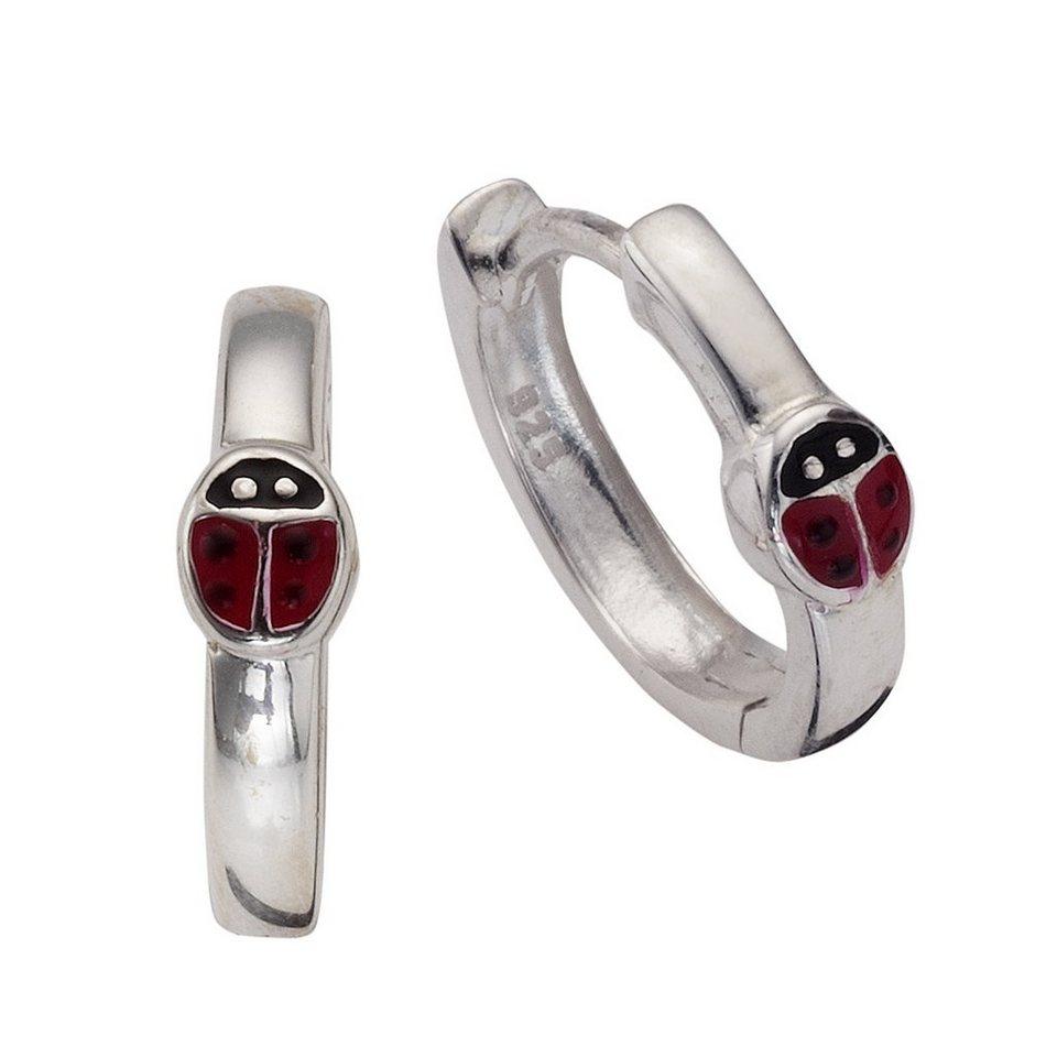 Zeeme Creolen »Kindercreole 925/- Sterling Silber Lack« in rot/schwarz