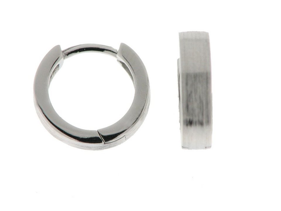 Zeeme Creolen »925/- Sterling Silber mattiert« in weiß