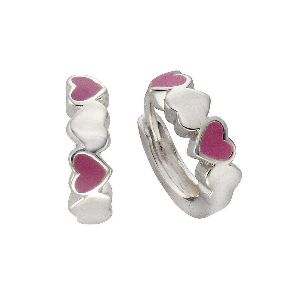 Zeeme Creolen »925/- Sterling Silber Lack Herzen« in rosa