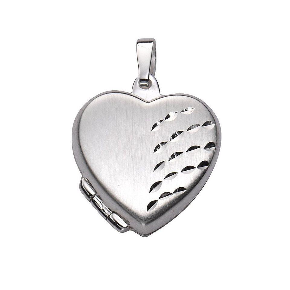Zeeme Anhänger »925/- Sterling Silber Herz Medaillon« in weiß