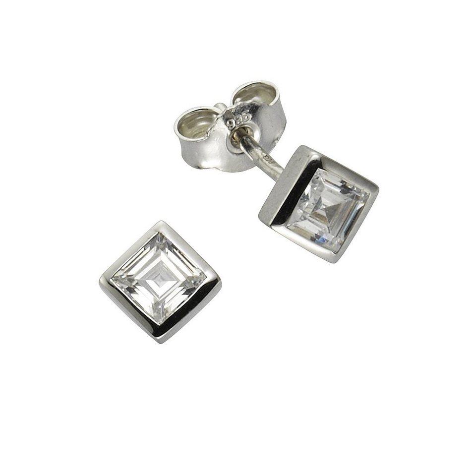 Zeeme Ohrstecker »925/- Sterling Silber Zirkonia weiß« in weiß