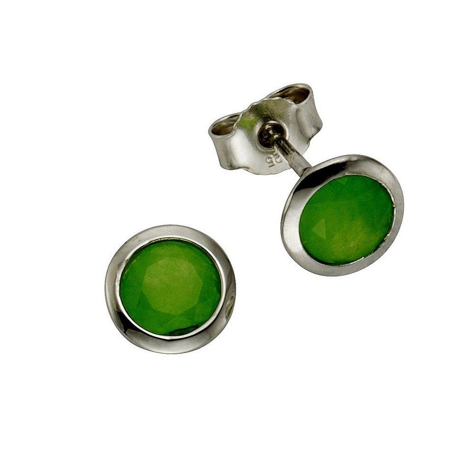 Zeeme Ohrstecker »925/- Sterling Silber Jade grün« in weiß