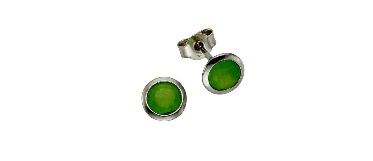 Zeeme Ohrstecker »925/- Sterling Silber Jade grün«