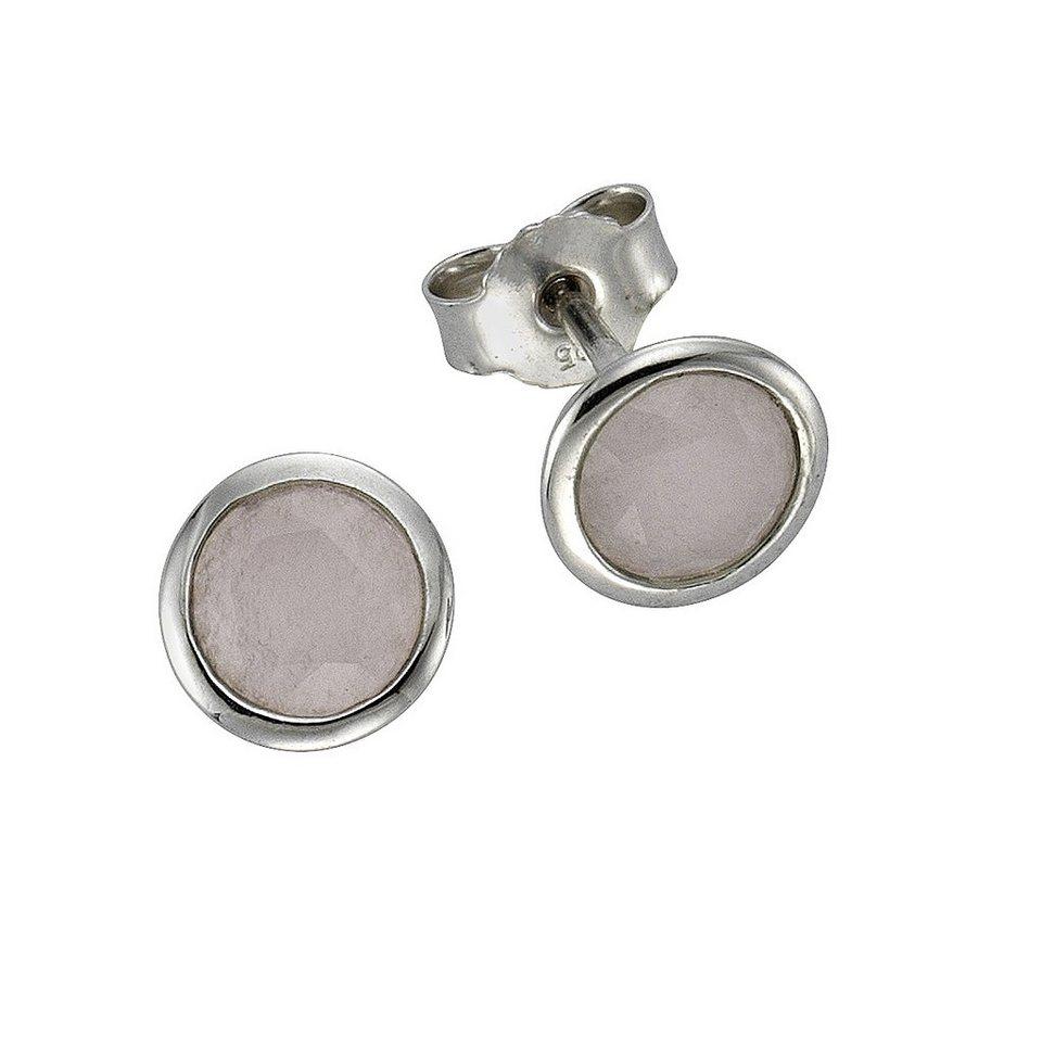 Zeeme Ohrstecker »925/- Sterling Silber Jade weiß« in weiß