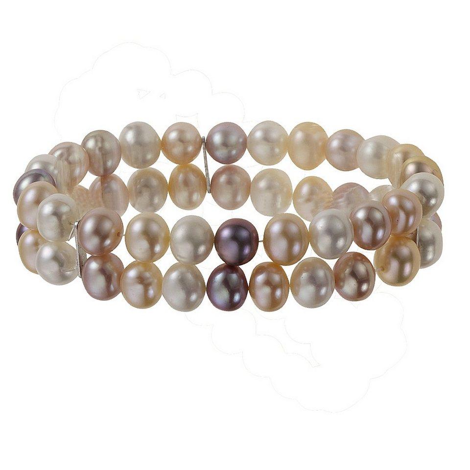 Zeeme Armband »925/- Sterling Silber zweireihig« in mehrfarbig
