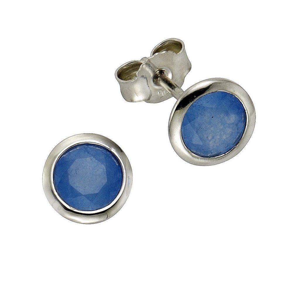 Zeeme Ohrstecker »925/- Sterling Silber Jade blau« in weiß