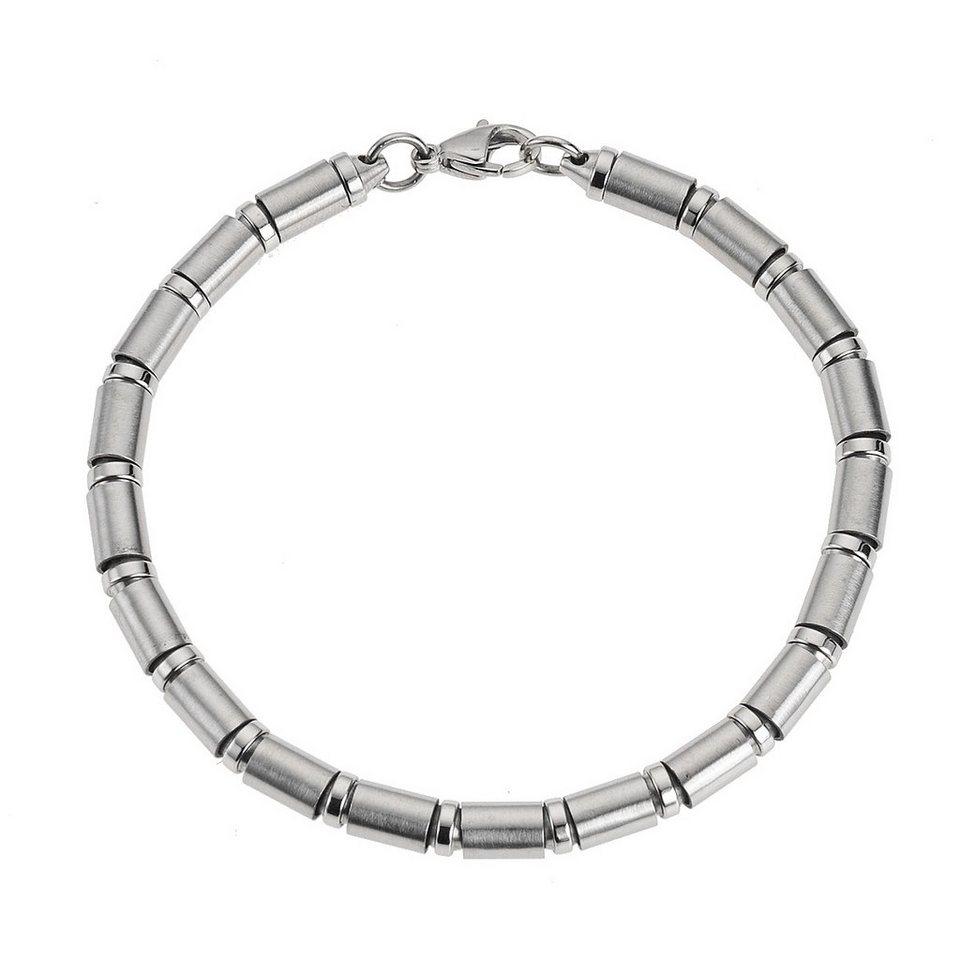 Zeeme Armband »Edelstahl glanz matt 21cm lang« in grau
