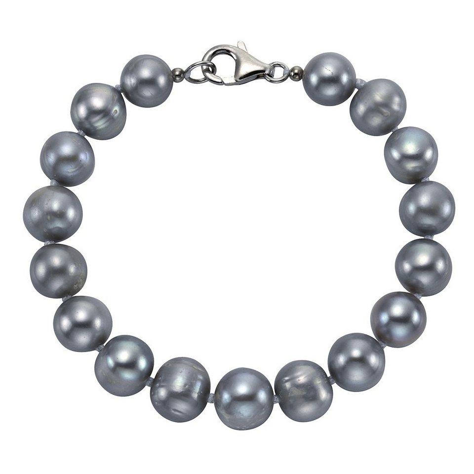 Zeeme Armband »925/- Sterling Silber Perle grau« in grau