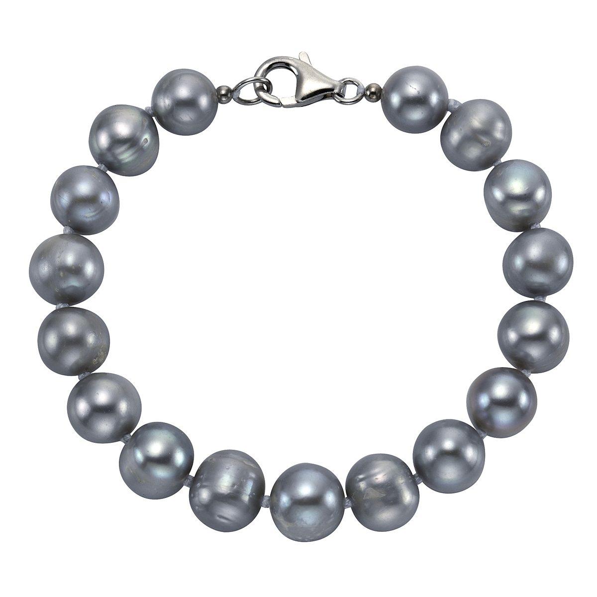Zeeme Armband »925/- Sterling Silber Perle grau«
