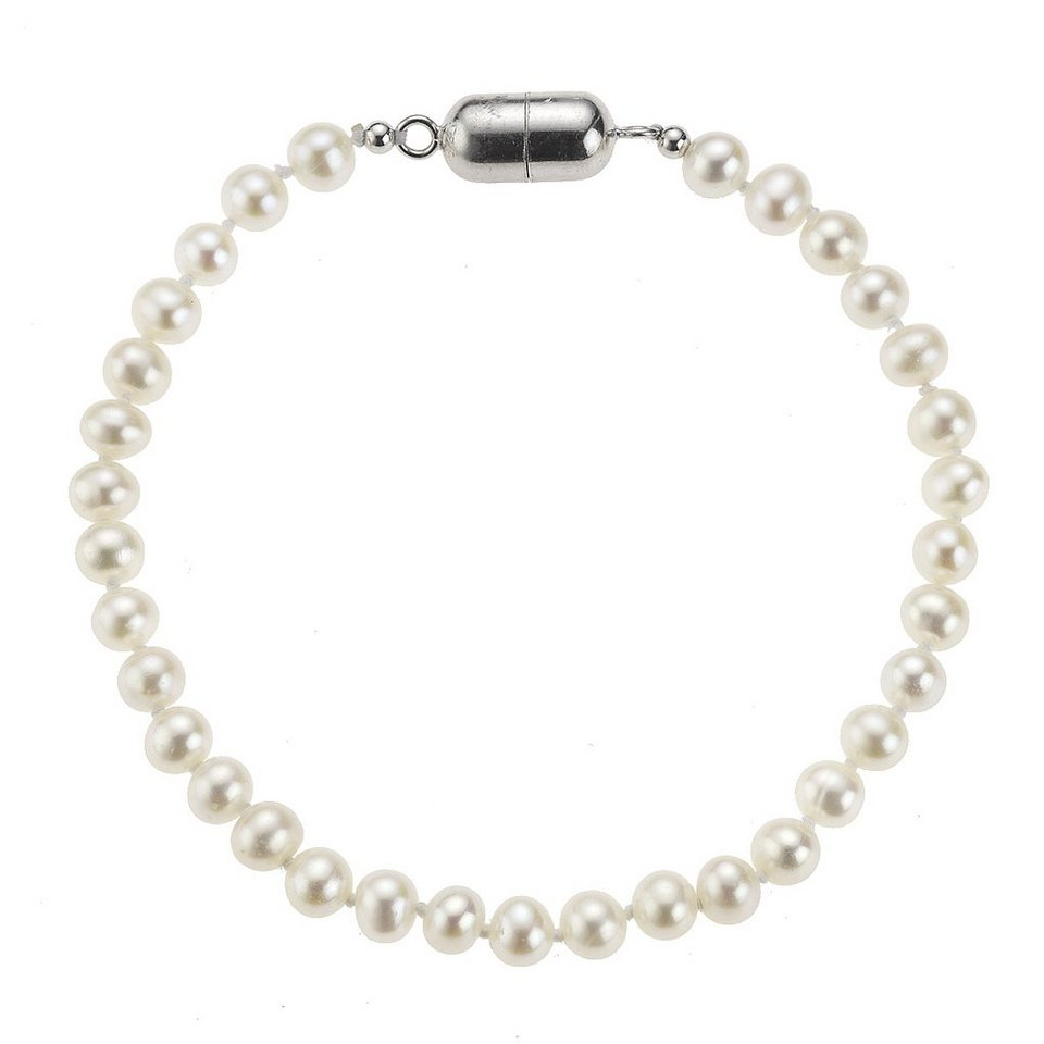 Zeeme Armband »925/- Sterling Silber Perle weiß« in weiß