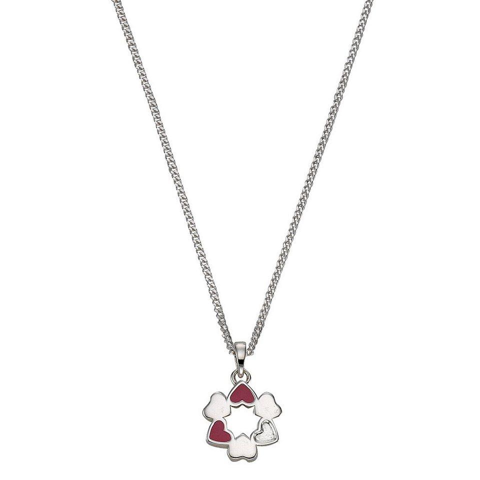 Zeeme Anhänger mit Kette »925/- Sterling Silber Lack Herzen« in rosa
