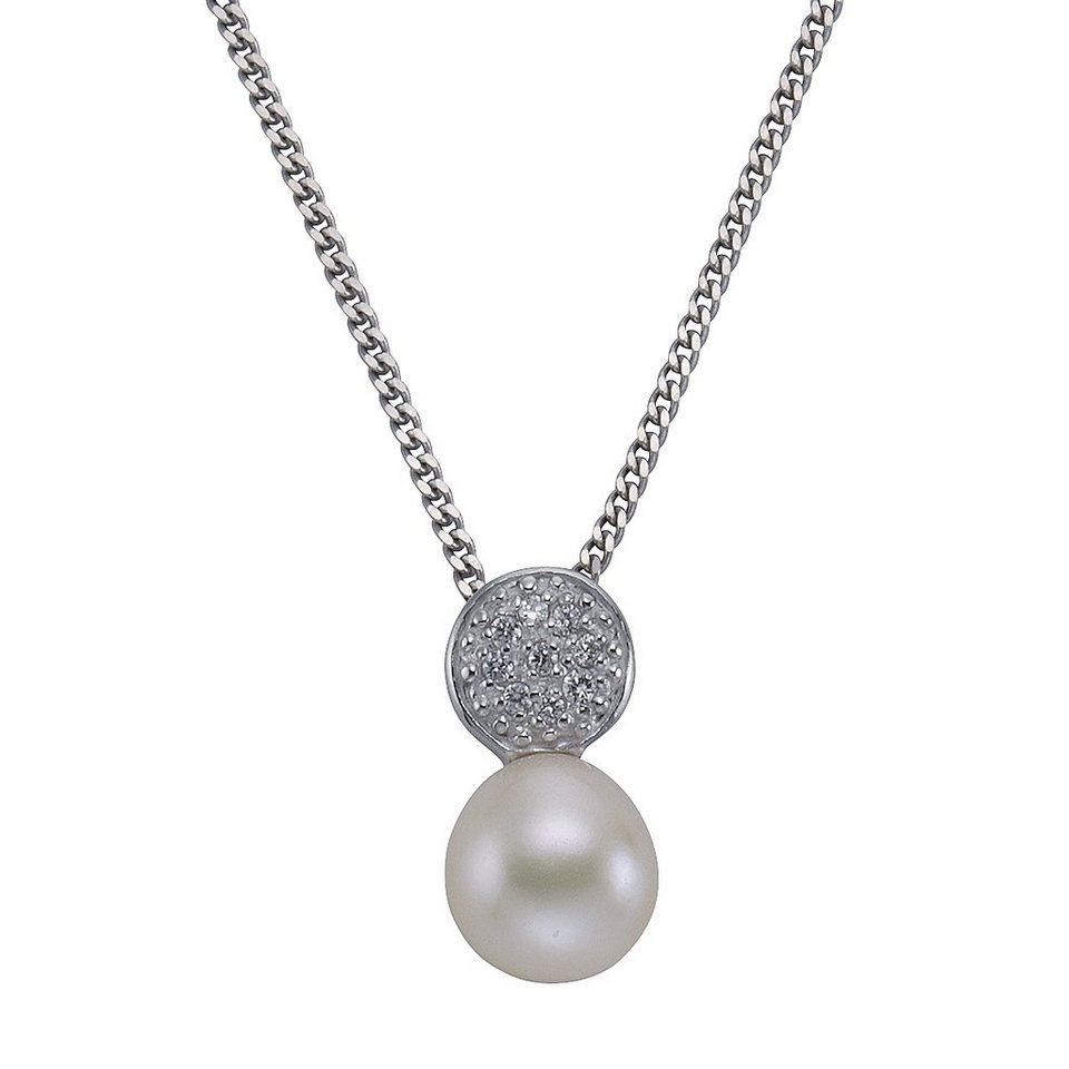 Zeeme Anhänger mit Kette »925/- Sterling Silber Perle Zirkonia weiß« in weiß