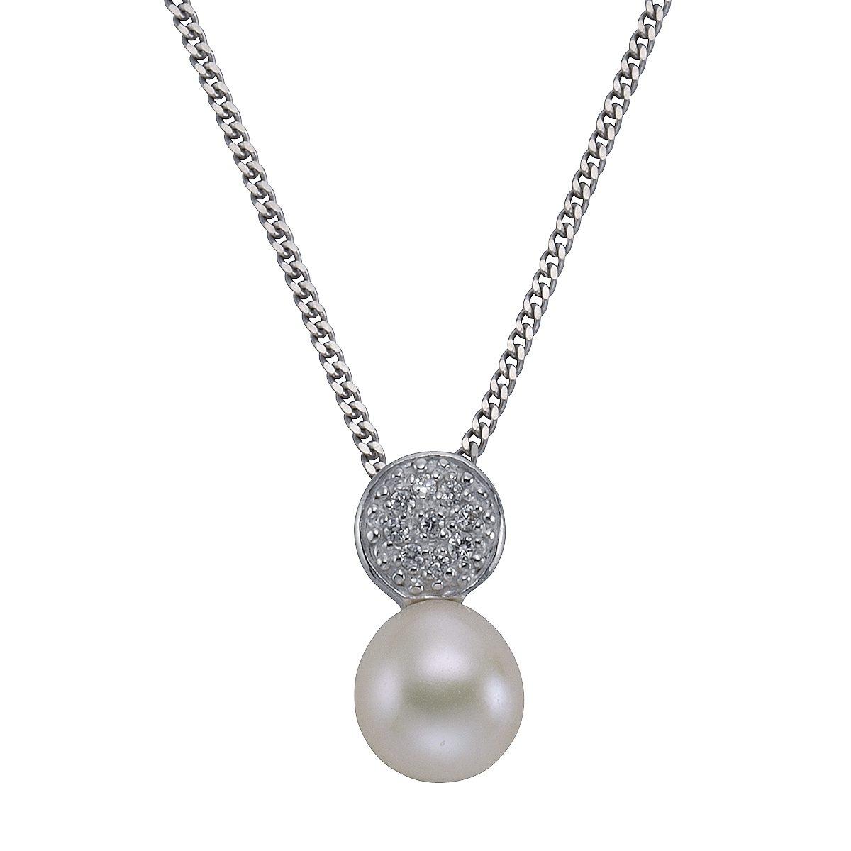 Zeeme Anhänger mit Kette »925/- Sterling Silber Perle Zirkonia weiß«