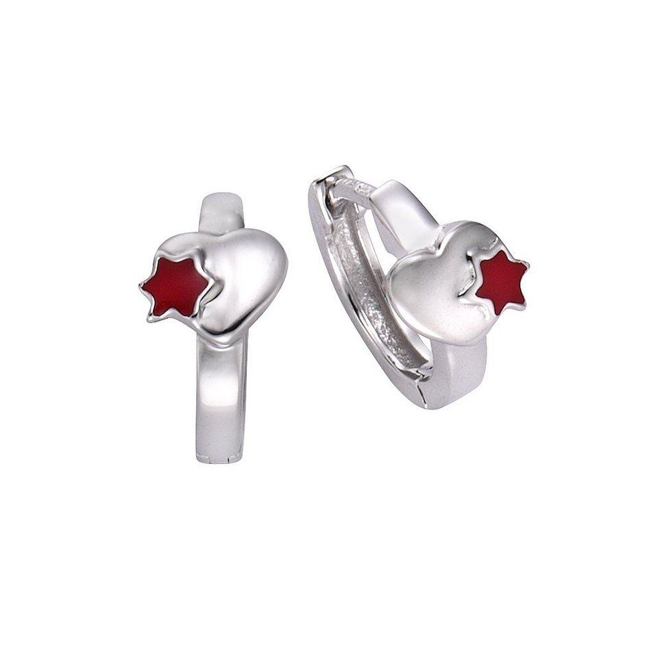 Zeeme Creolen »925/- Sterling Silber Lack rot« in weiß