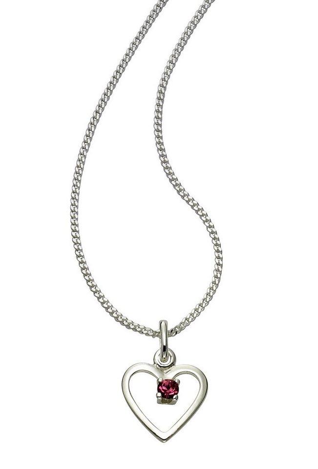 Zeeme Anhänger mit Kette »925/- Sterling Silber Glasstein rosa« in weiß