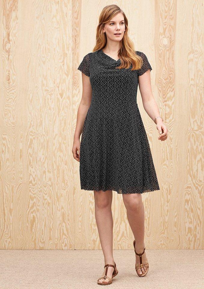 TRIANGLE Zartes Kleid mit Pünktchen in black/white dot AOP