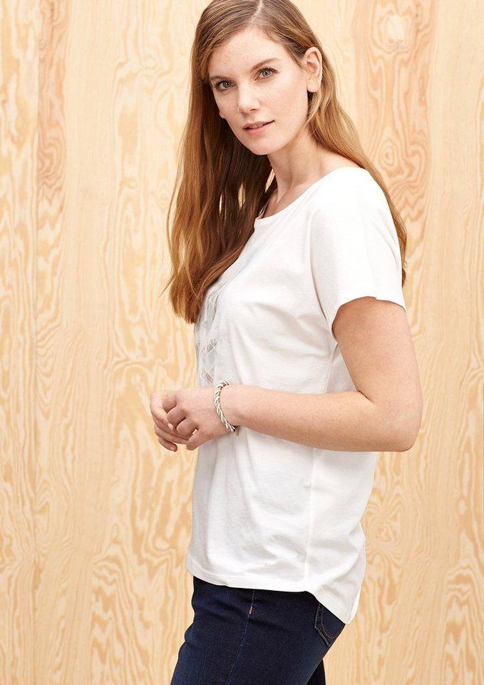 TRIANGLE T-Shirt mit zartem Print in light cream placed p