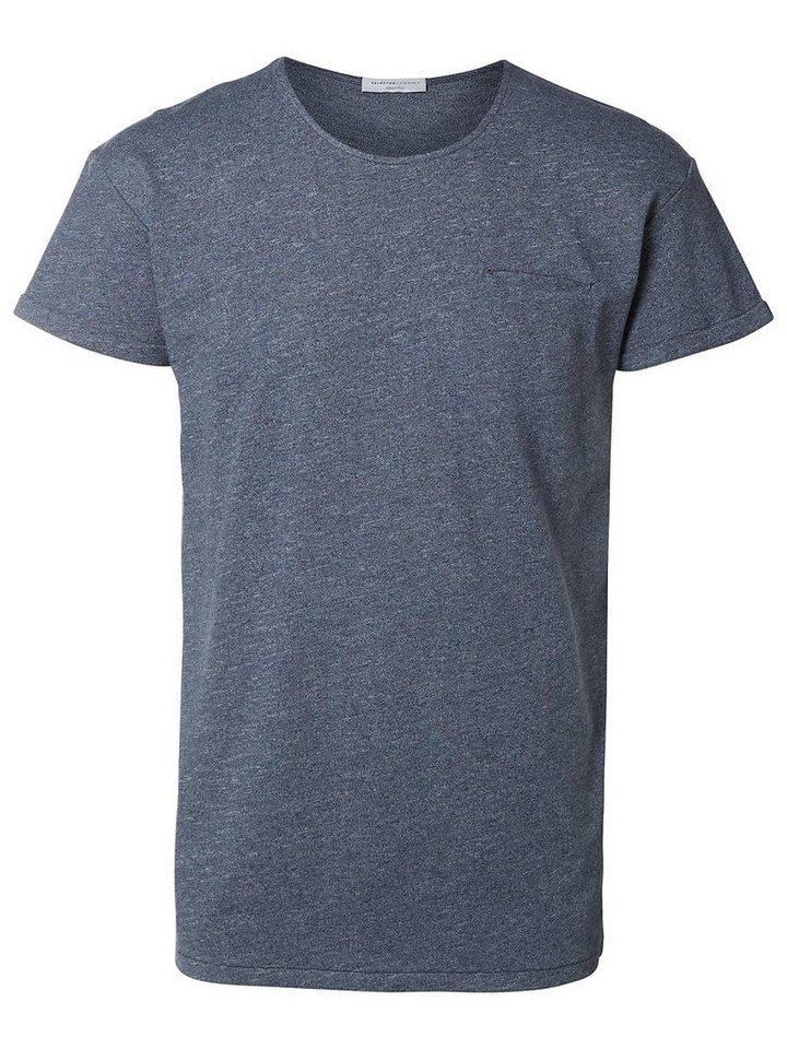 Selected Rundausschnitt- T-Shirt in Dark Sapphire