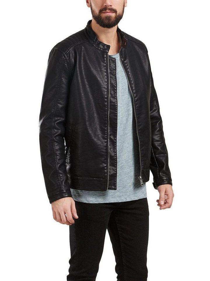 ONLY & SONS Leder-Look- Jacke in Black