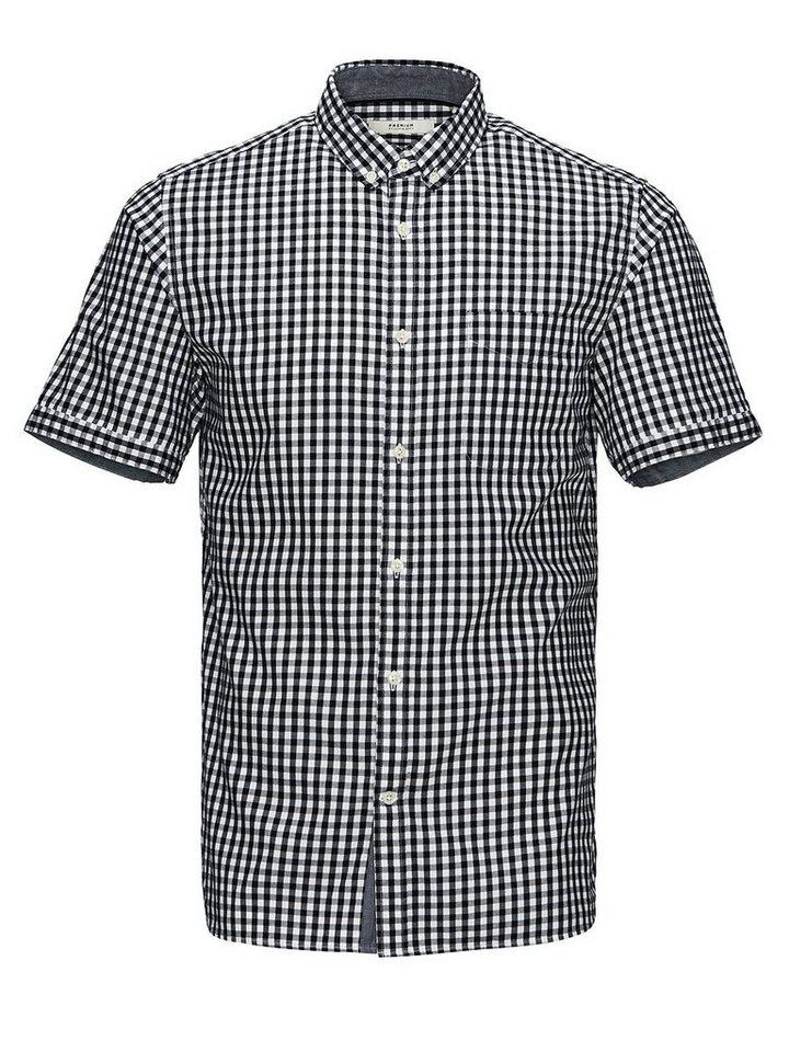 Jack & Jones Kariertes Button-Down- Kurzarmhemd in Navy Blazer