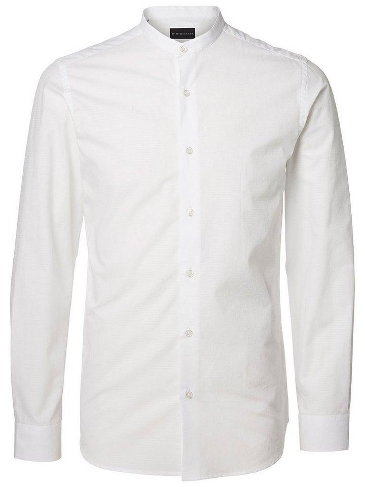 Selected Chinakragen- Hemd in White