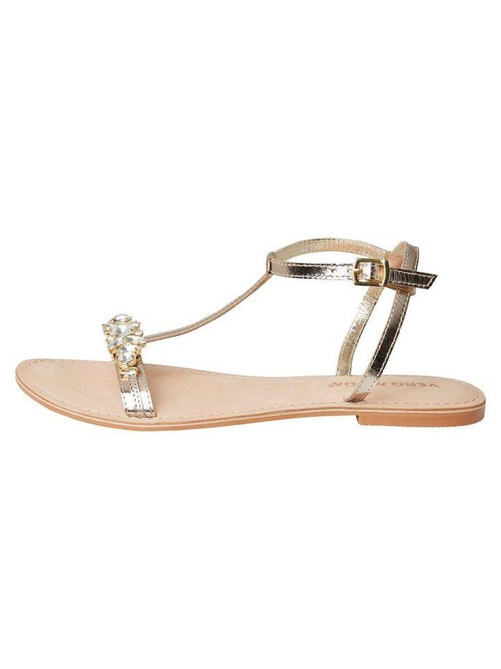 Vero Moda Leder- Sandalen in Pale Gold