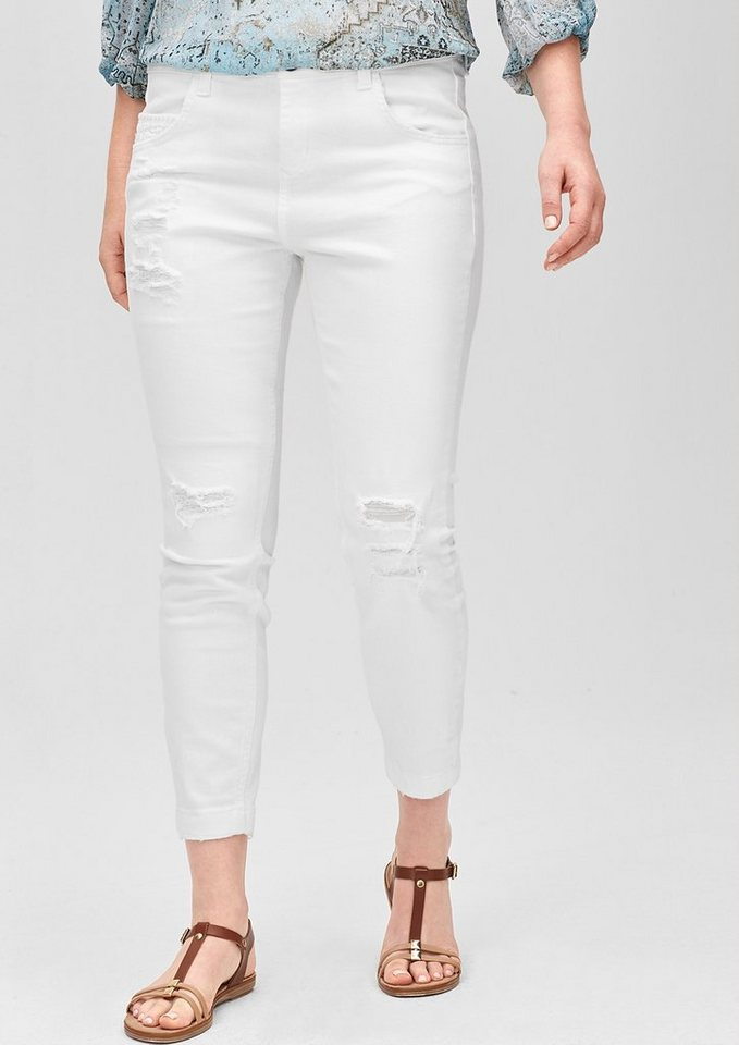 TRIANGLE Curvy: Destroyed Jeans in white