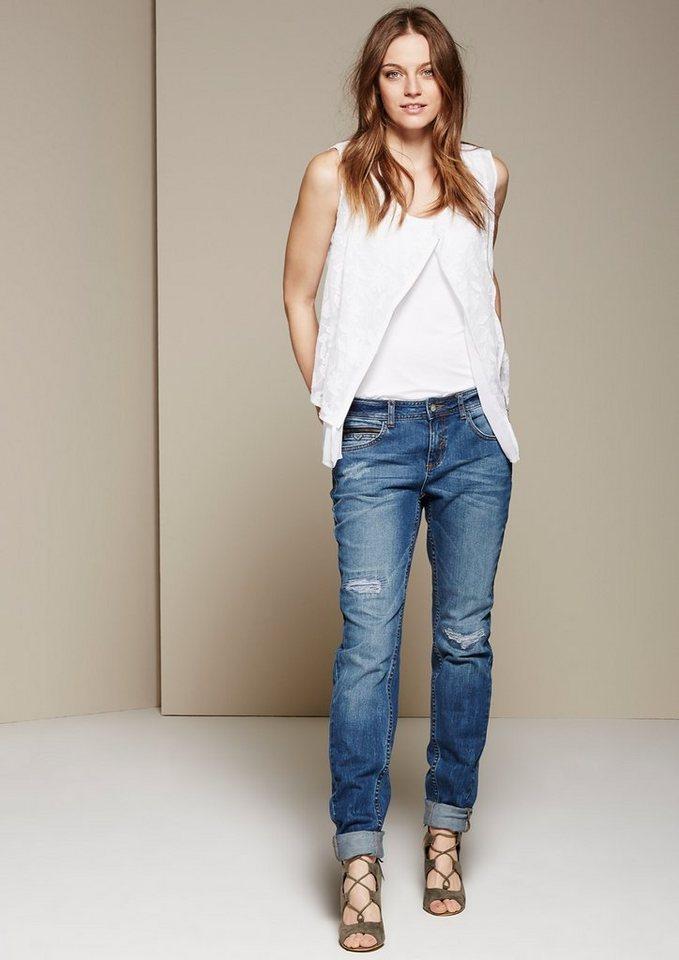 COMMA Lässige Boyfriend-Jeans in Used-Optik in blue denim stretch